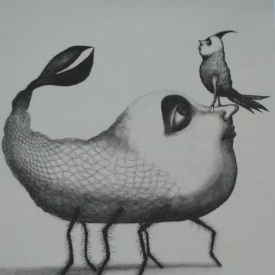 The Bird 15 X 11 In Pencil On Paper Sold